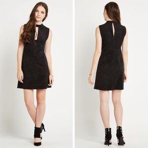 BCBG Black Faux Suede Shift Mini Dress